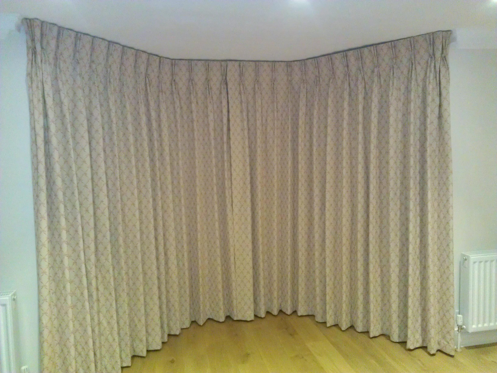 Fabric Covered Facia in Bay Window - K&K Curtains