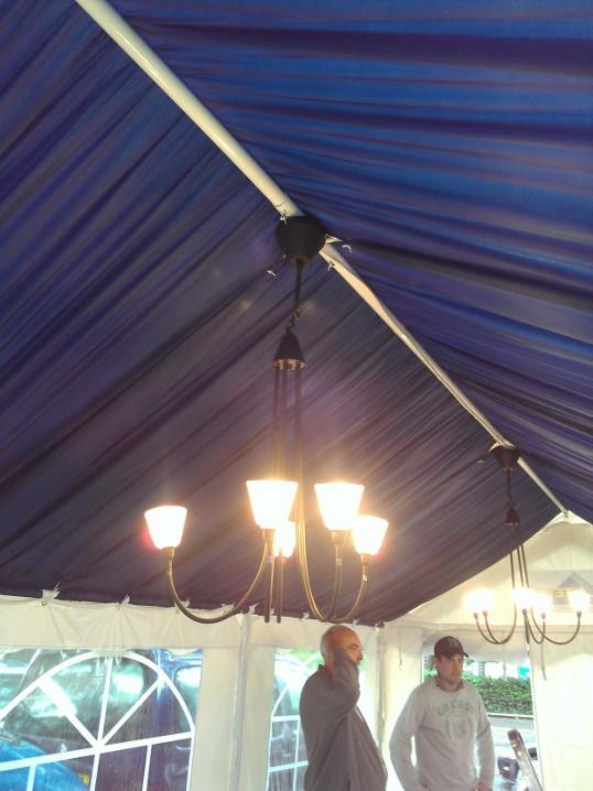 Tented ceiling in a tent